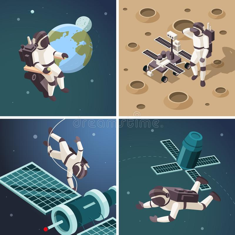 Space illustrations. Astronauts outdoor planet surface space orbit floating spaceship discovery universe vector. Isometric backgrounds. Spaceman on moon and fly stock illustration