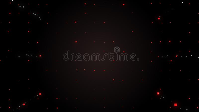Abstract star dust particle background. Space image. Tiny red squares floating chaotically in night air stock illustration