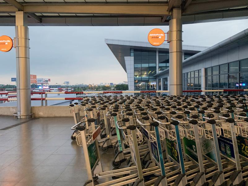 Space inside an airport waiting house, people waiting for check-in procedures - Hanoi, Vietnam April 16, 2019 royalty free stock photo