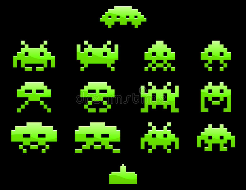 Space Invader Icons EPS royalty free illustration
