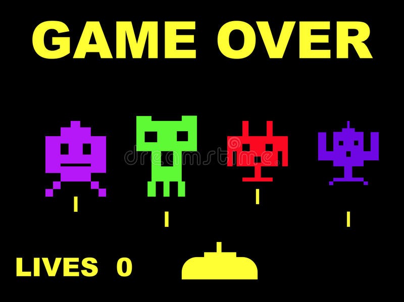 Download Space invaders game over editorial photography. Image of game - 9508012
