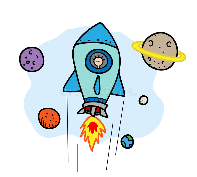 Space Journey. A hand drawn vector illustration of a space rocket flying, all objects are on separate groups for easy editing (including background vector illustration