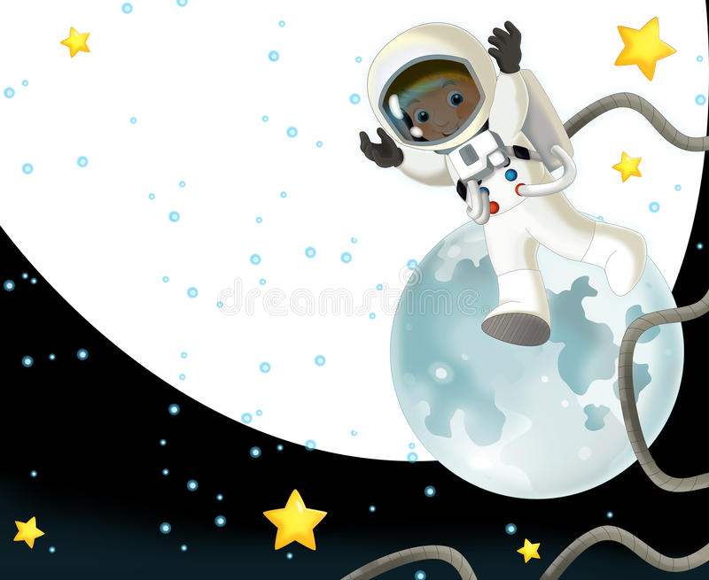 The Space Journey - Happy And Funny Mood - Illustration For The Children Royalty Free Stock Photos
