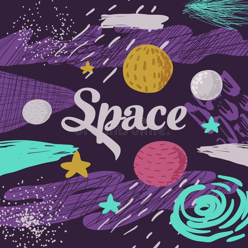 Space Kids Design. Childish Cosmic Background with Planets, Stars and Abstract Elements. Baby Freehand Doodle for Covers vector illustration