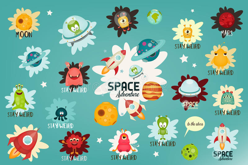 Space Labels Set vector illustration