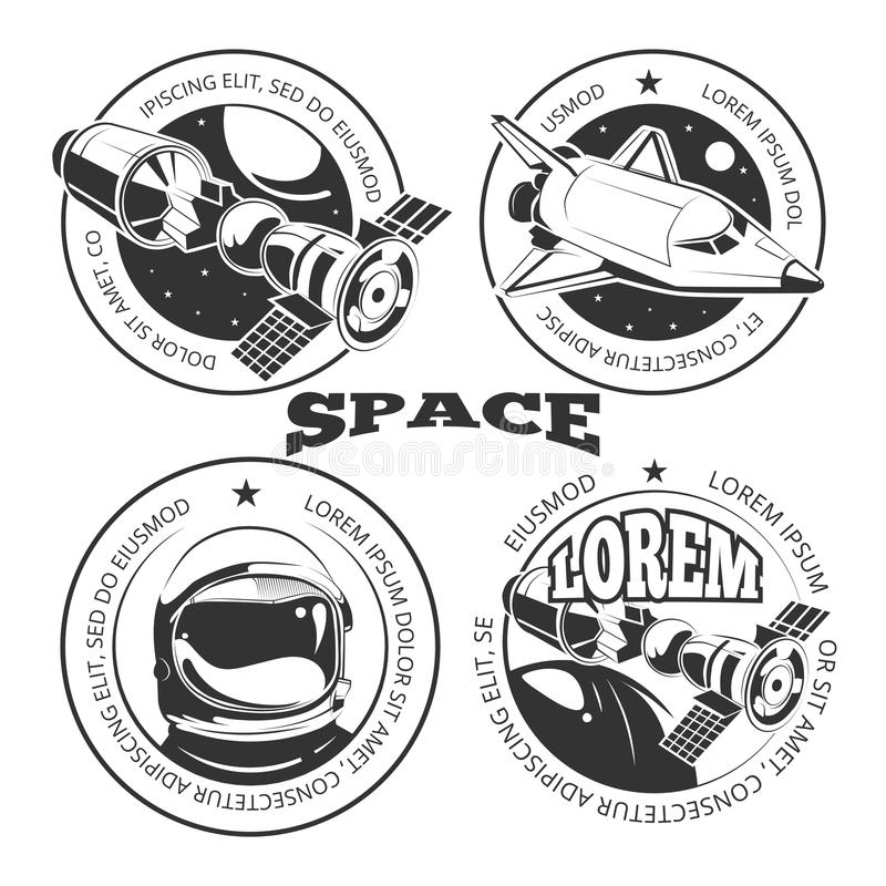 Space labels set - labels or logo with shuttle vector illustration