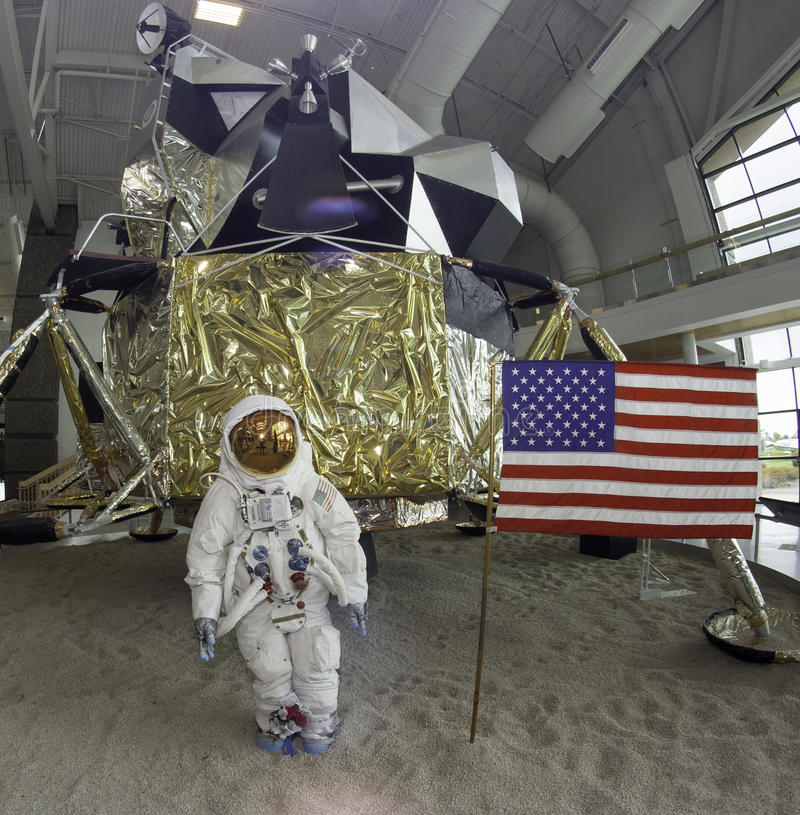 Space Lander. Mock up of a lunar lander and astronaut stock photos