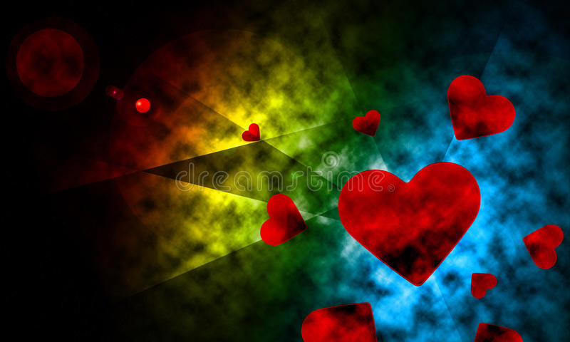 Space lighting with heart abstract background. stock illustration