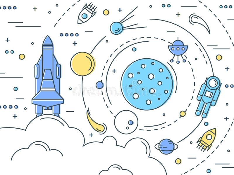 Space Line Art Design royalty free illustration