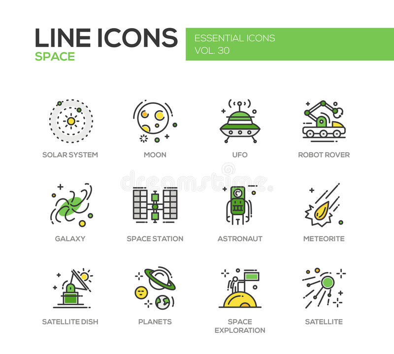 The Space - line design icons set stock illustration