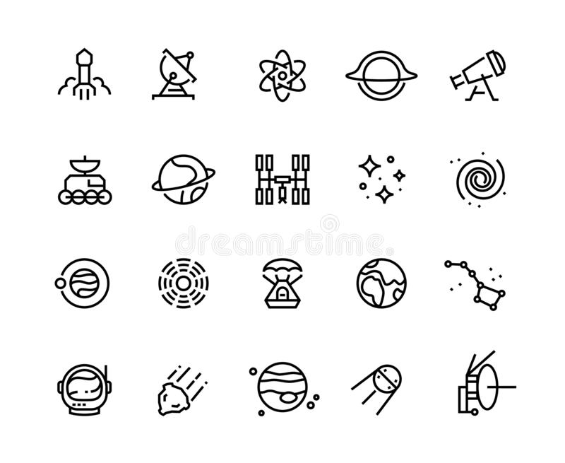 Space line icons. Cosmic astronomy galaxy astronaut rocket launch meteor space telescope planets and stars. Cosmos stock illustration