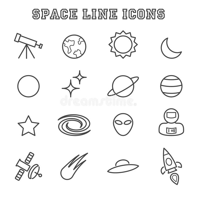 Space line icons vector illustration