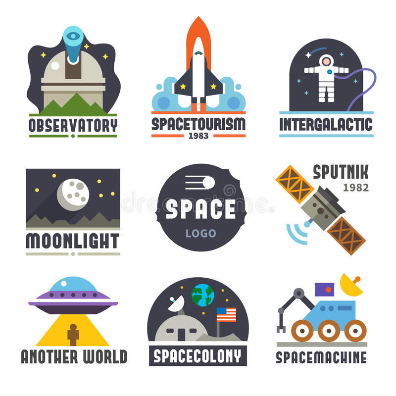 Space logo set. Observatory, tourism, galaxy, moon, satellite, alien, astronaut. Vector flat logos and icon set vector illustration