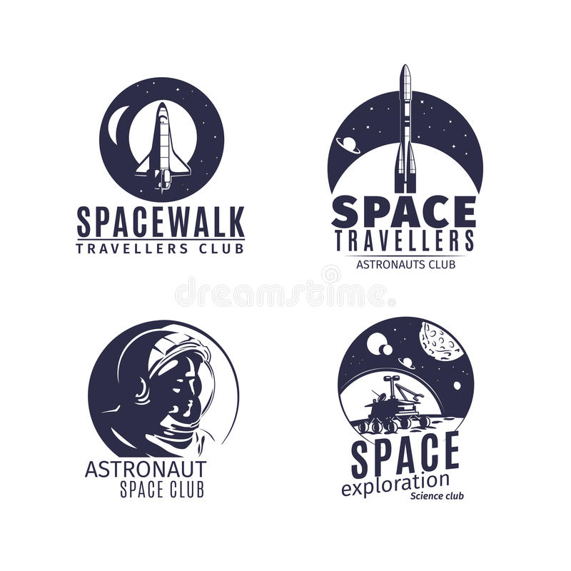 Space logo set in retro style stock illustration