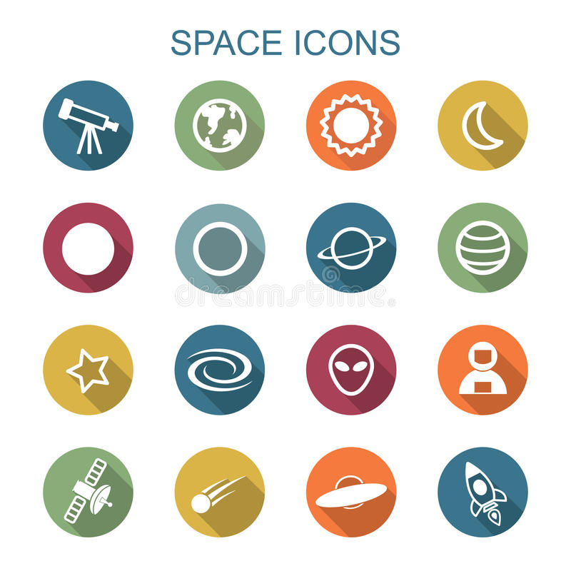 Space long shadow icons royalty free illustration