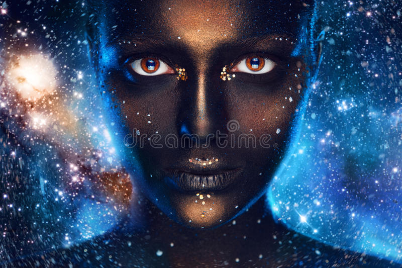 Download Space Make Up On Female Face Stock Image - Image: 36331425