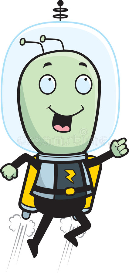 Space Man Jet Pack. A cartoon space man flying stock illustration