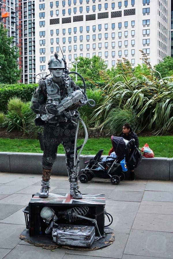Space man/tech man a street performer at the Jubilee garden, London, England. Photo was taken on 15/06/2019 stock photos