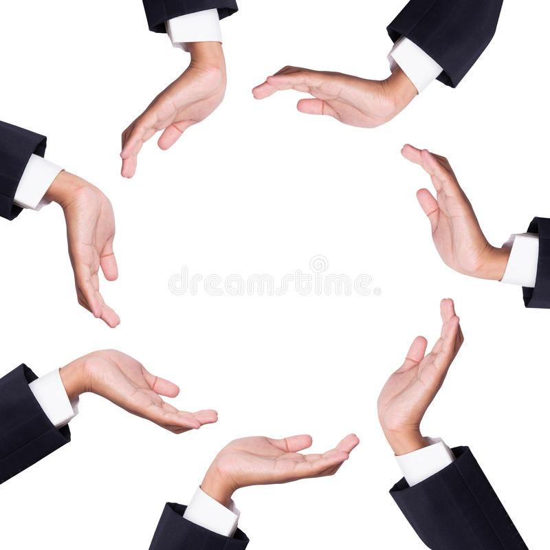 Download Space Between Many Hands Of Businessman Stock Image - Image: 25940181