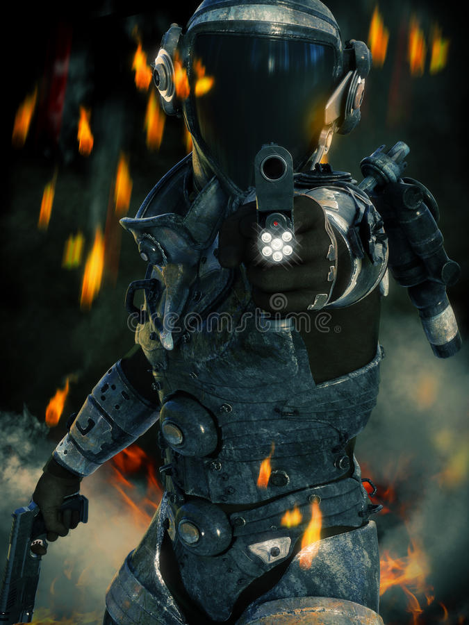Space Marine in action aiming his weapon at the camera with sparks, smoke and fire in the background. stock images
