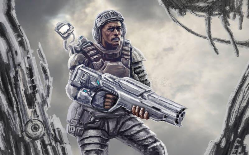 Space marine after the battle. Science fiction genre. Space marine after the battle on background of debris.. Science fiction genre vector illustration