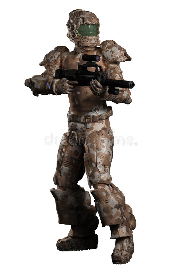 Download Space Marine Trooper In Brown Camouflage Stock Illustration - Illustration of warrior, camo: 32158344