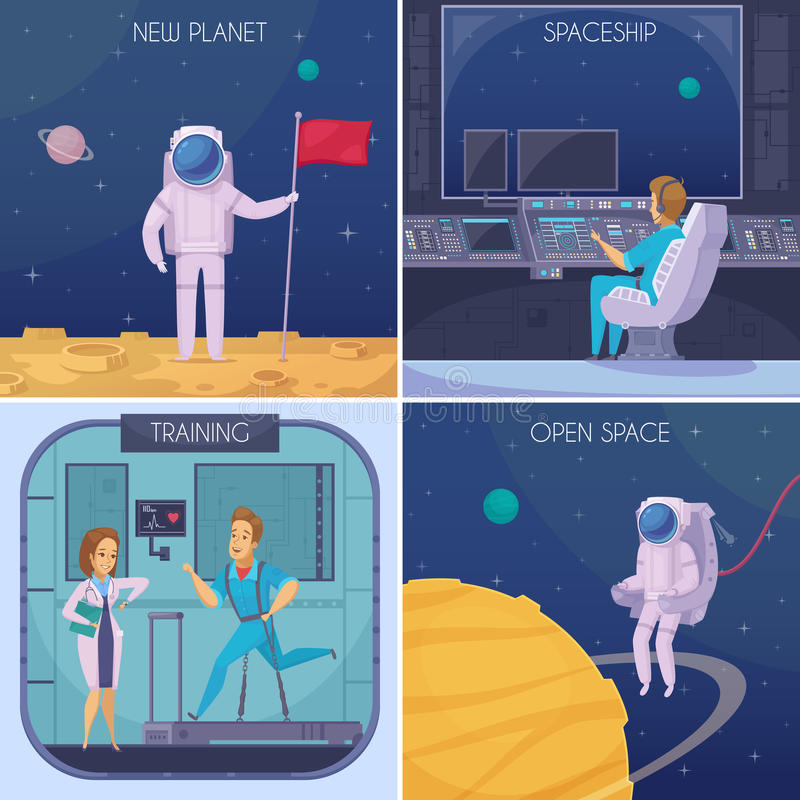 Space Mission Cartoon Concept Square vector illustration