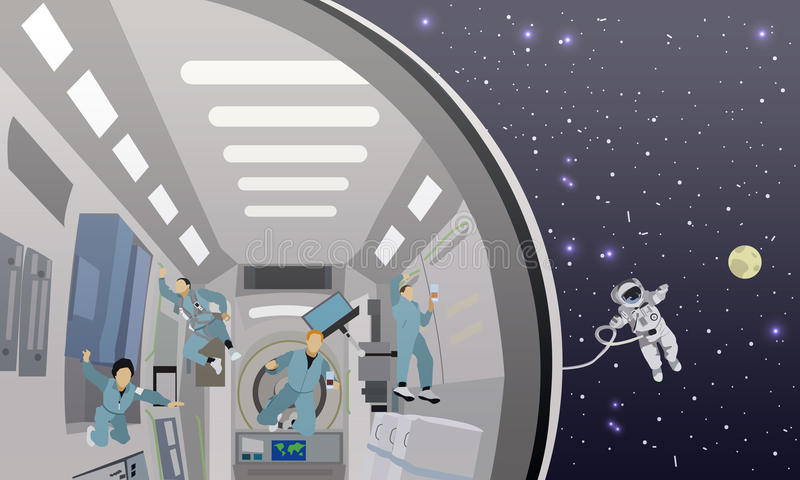 Space mission concept vector illustration. Cosmonauts flying in no gravity. Space mission concept vector illustration. Astronauts in space station and outer stock illustration