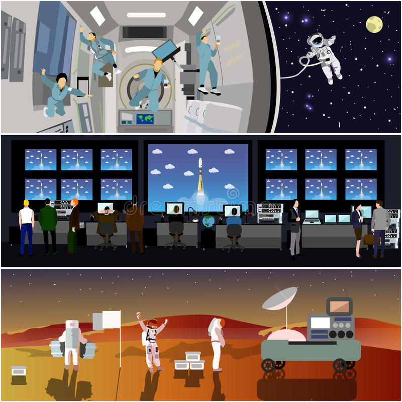 Space mission control center. Rocket launch vector illustration. Astronauts in space station and outer space. vector illustration