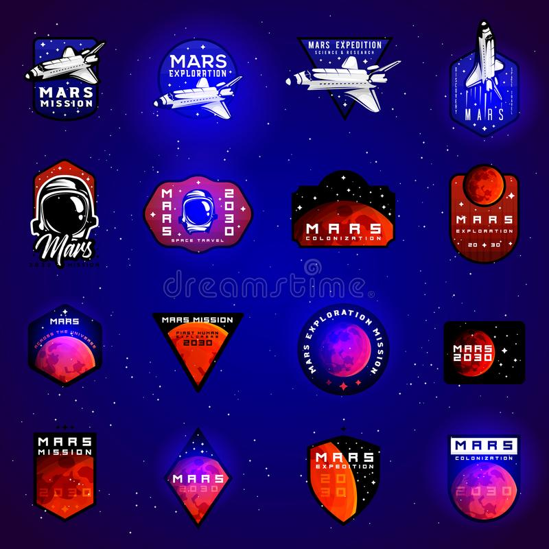 Space mission to Mars vector emblems concept with space shuttle stock illustration