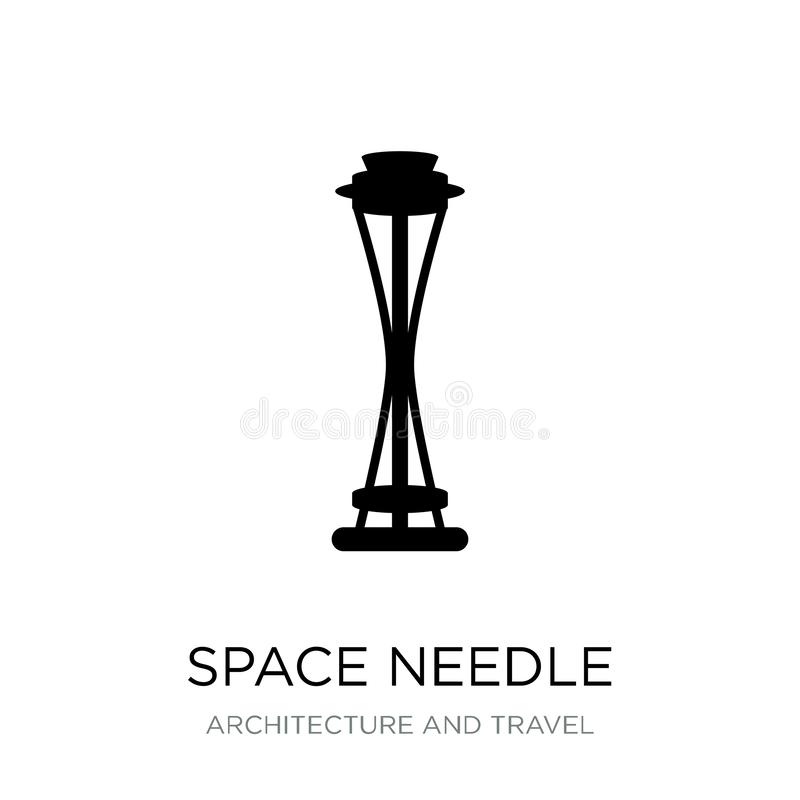 Space needle icon in trendy design style. space needle icon isolated on white background. space needle vector icon simple and. Modern flat symbol for web site stock illustration