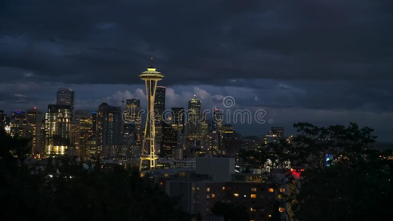 The space needle and seattle at night royalty free stock photo