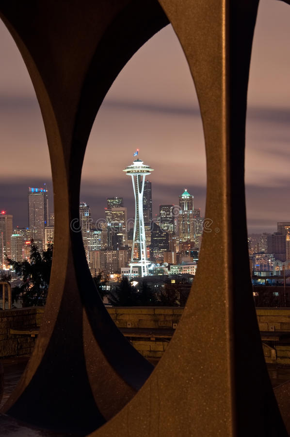 Space Needle and Seattle Skyline Framed royalty free stock photo