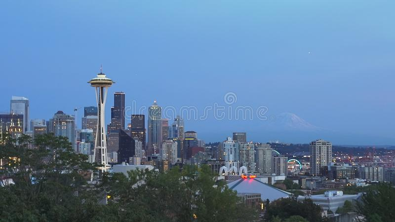 The space needle in seattle at dusk stock image