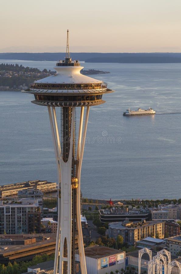 The Space Needle, Seattle, Washington, USA. SEATTLE - JUNE 11 2013: Space Needle in Seattle on June 11, 2013 in Seattle, USA. Aerial photograph of the Seattle stock image