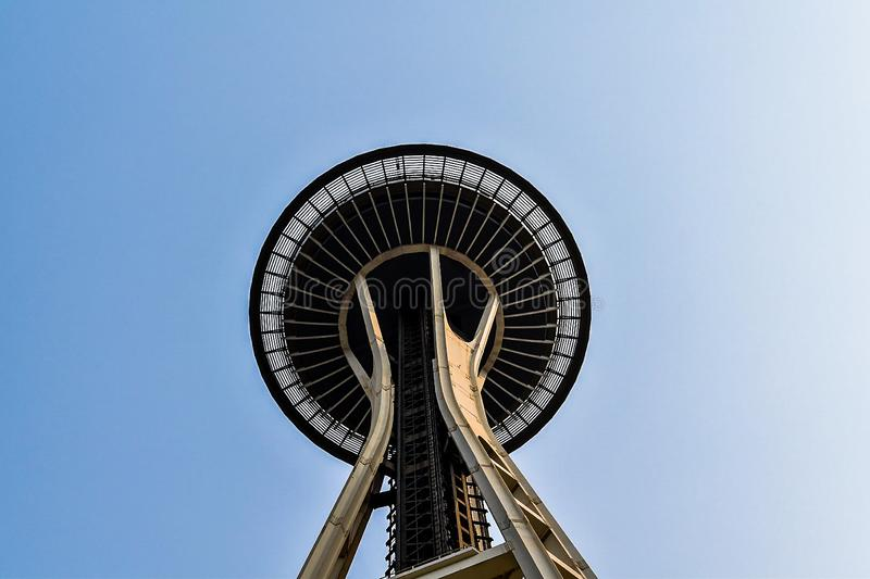 Space Needle and the sky. Photo of the Space Needle in Seattle looking up toward the sky royalty free stock image