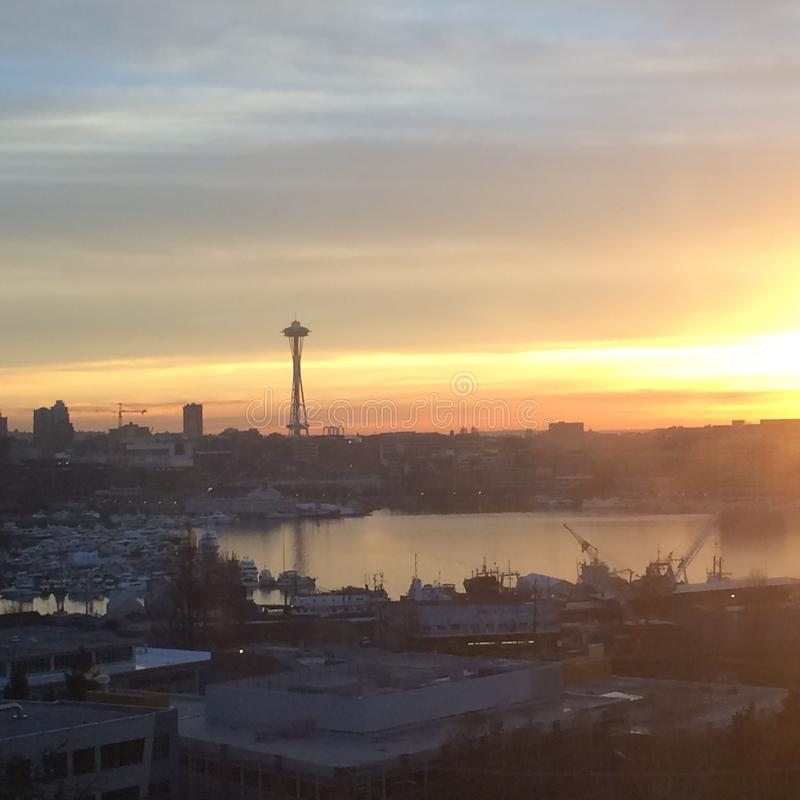 Space needle at sunset stock images