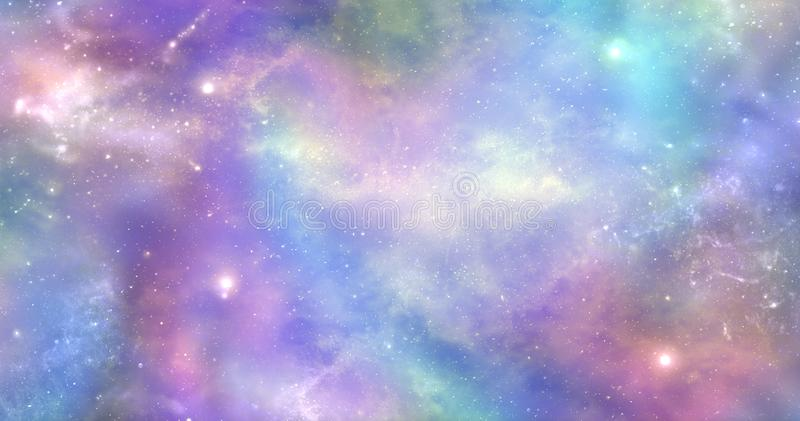 Space is not just dark and deep it is also filled with heavenly light and color royalty free illustration
