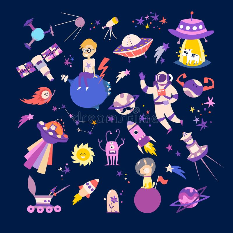 Space objects collection vector illustrations royalty free illustration