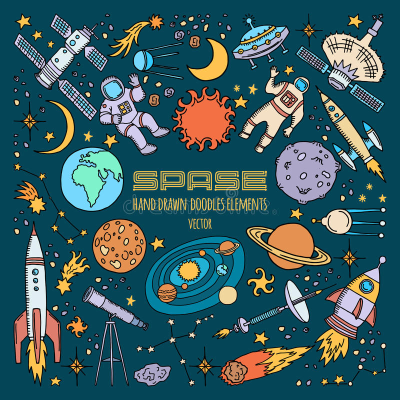 Space objects in universe. Vector hand drawn illustrations royalty free illustration