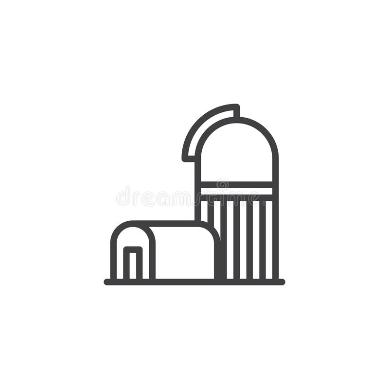 Space observatory line icon. Linear style sign for mobile concept and web design. observatory building outline vector icon. Symbol, logo illustration. Pixel vector illustration