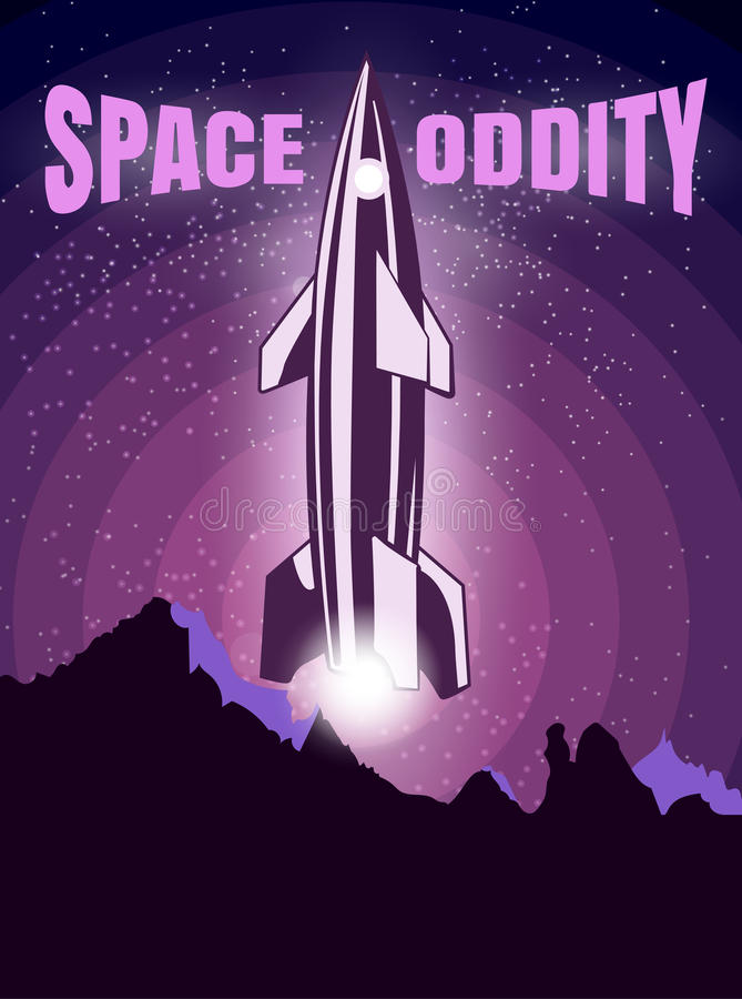 Space oddity. Rocket launch and text. Vector image retro black and white movie style. Space oddity. Rocket launch and text. Vector image vector illustration