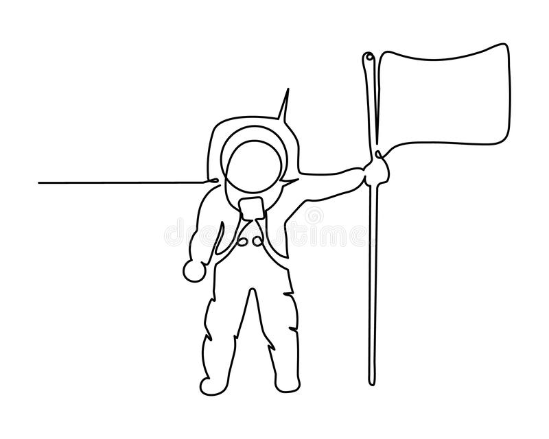 Space one line art. Continuous single drawn one line astronaut, astronaut on the moon with flag cosmic silhouette. stock illustration