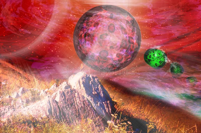 Space panorama. Fire planet Mars. And meteorite rain stock photos