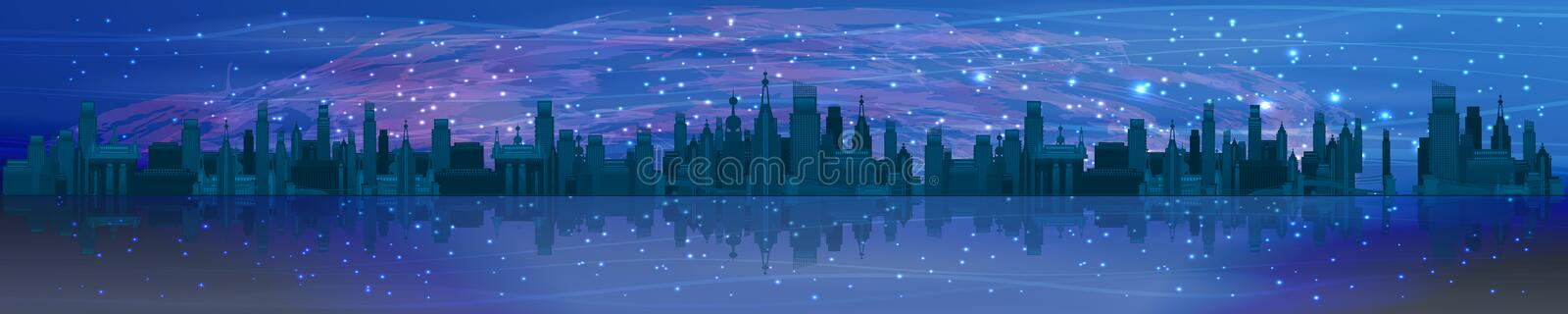 Space panorama horizontal orientation. The universe and the night city. skyscrapers and streets against the sky and water royalty free stock photography