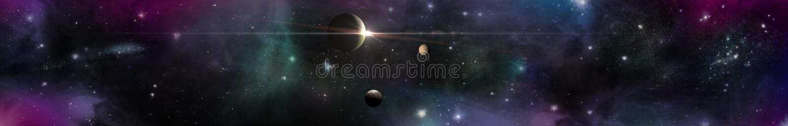 Space panorama landscape. view of the universe. stock images