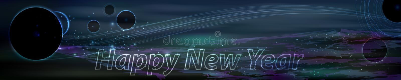 Space panorama new year. long. Horizontal image of a large size. dark planets. black silhouettes royalty free illustration