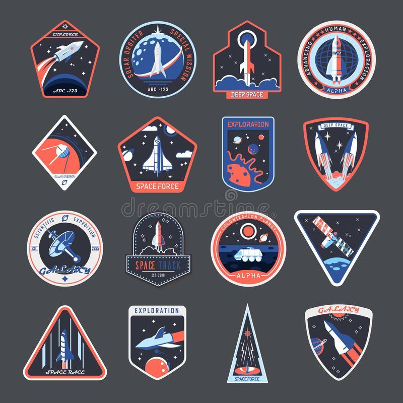 Space patches, galaxy exploration spaceship badges vector illustration