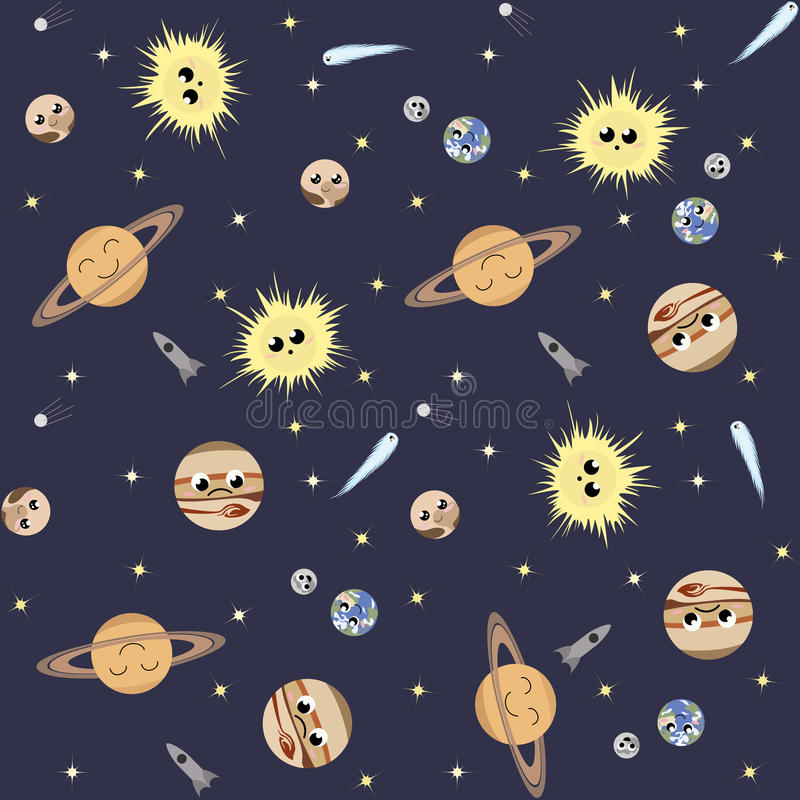 Space pattern. Seamless pattern with cute planets, stars, comets royalty free illustration