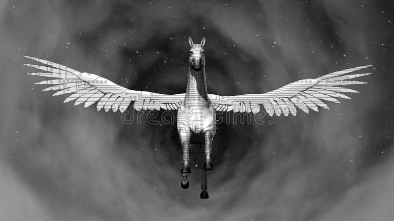 Space Pegasus. 3D rendering. Art. 4K. royalty free stock photo